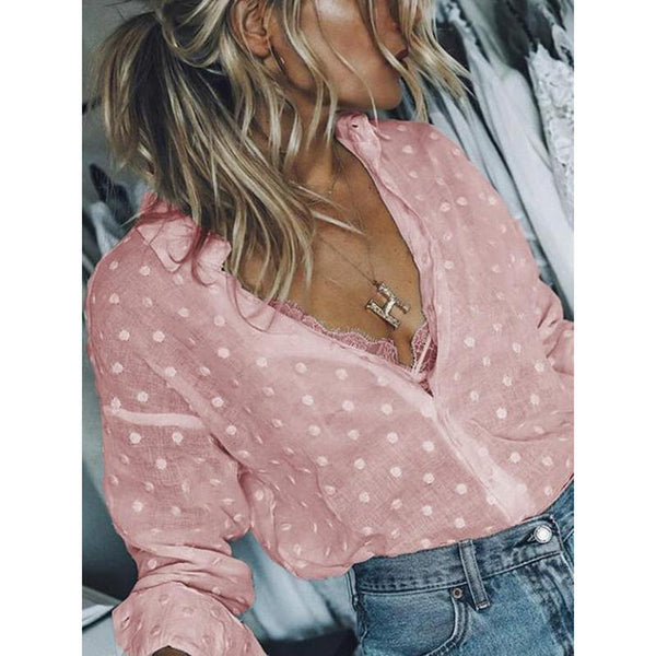 Casual Solid Polka Dot Long Sleeve Shirt