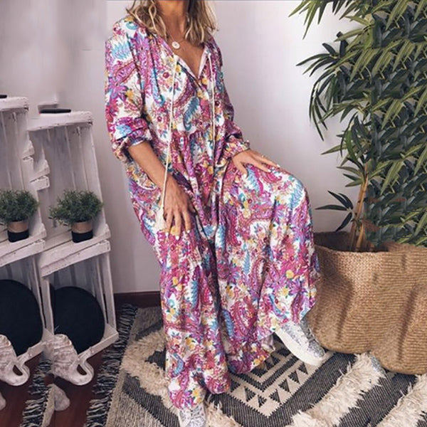 Plus Size Printed Loose Maxi Dress