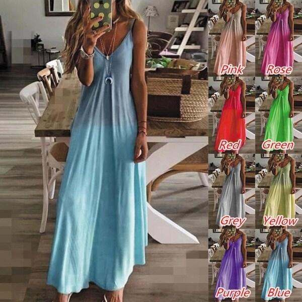 Women's Summer Sleeveless Gradient Printing Sling Dress