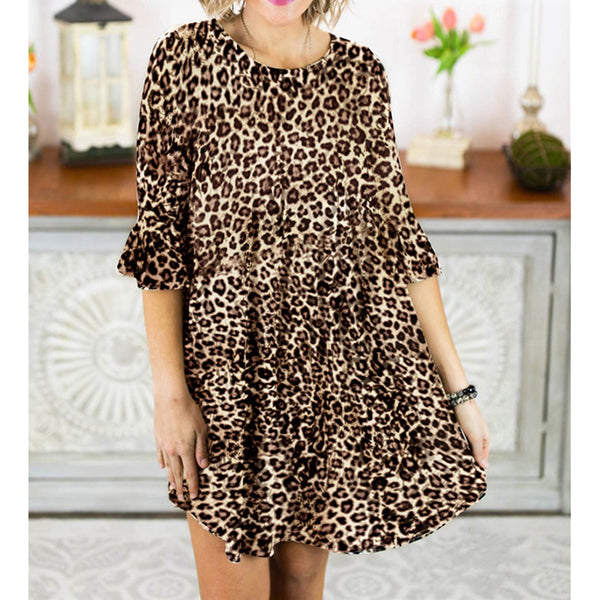 Casual Half Sleeve Leopard Plus Size Dresses