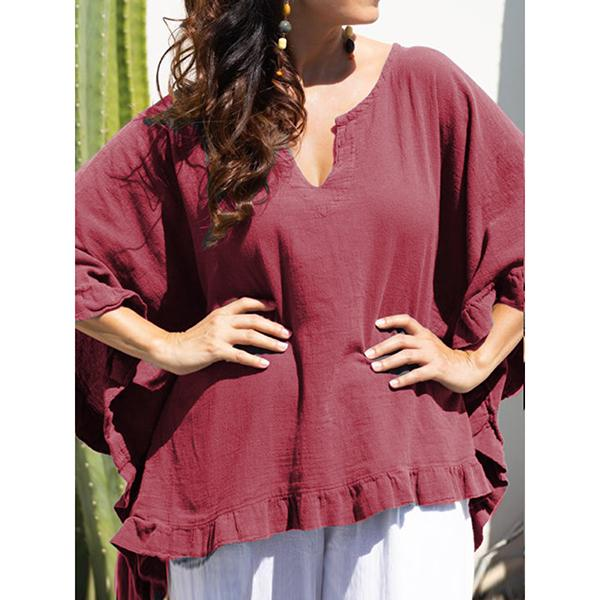 Casual Lace Half Sleeve V-Neck Blouse