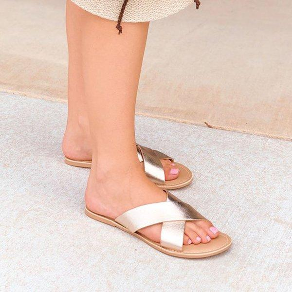 Casual Cross Strap Flat Slippers