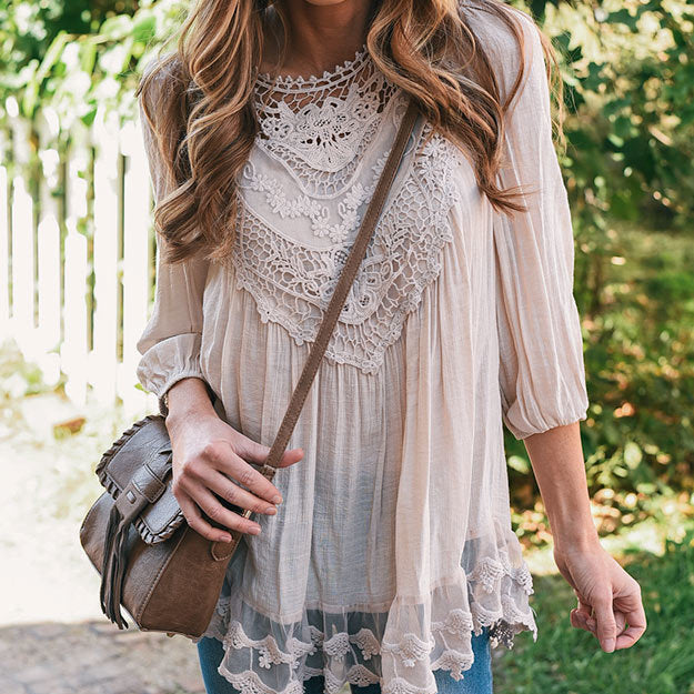 Elegant Lace Neck Long Sleeve Blouse