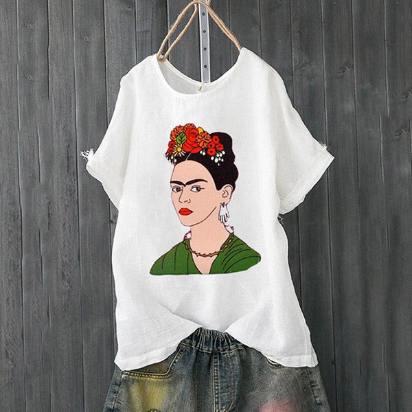 Daily Casual  Printed Round Neck Blouse