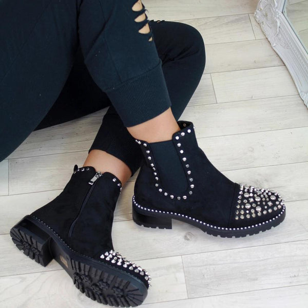 Studded Spike Chunky Cleated Chelsea Boots