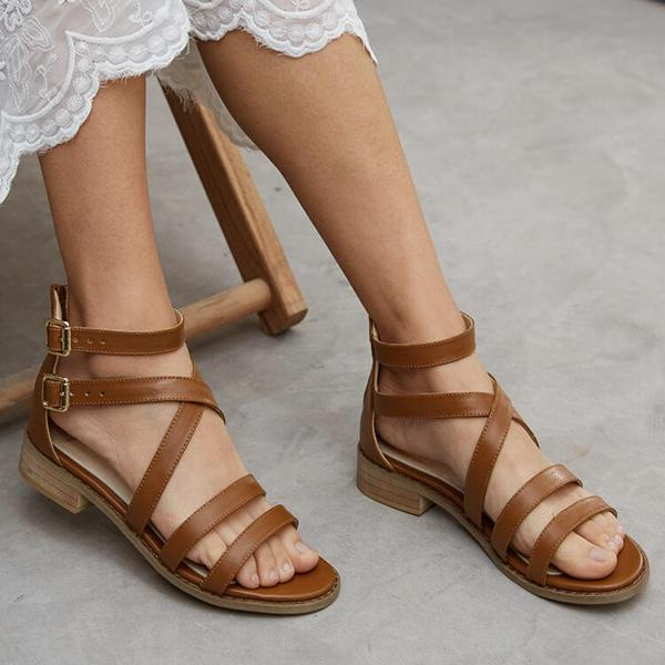 Vintage Across Strap Low Heel Sandals