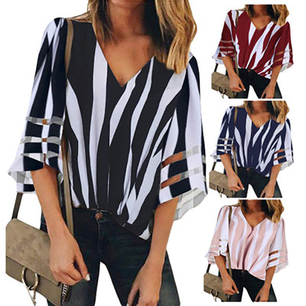 Loose Stripe V Neck Blouse