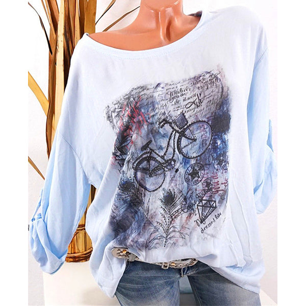 Women 3/4 Sleeve Printed Plus Size Blouses