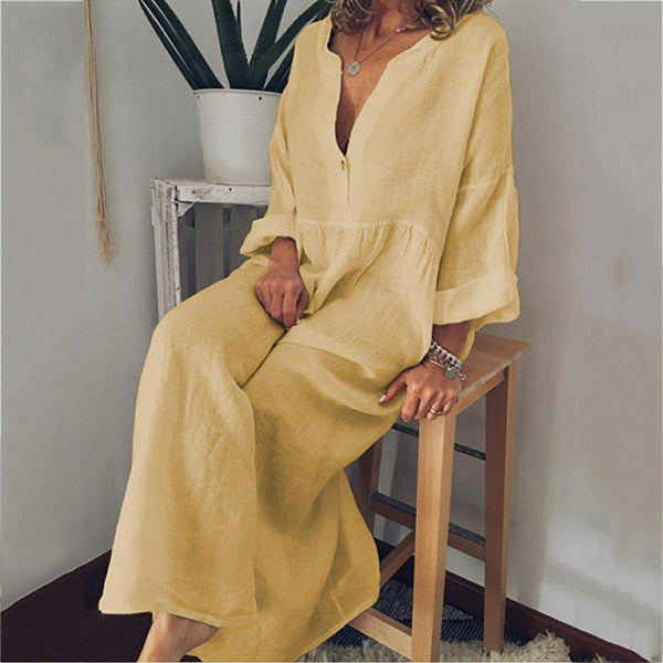 Fashion V-neck Printed Loose Long Sleeve Dress
