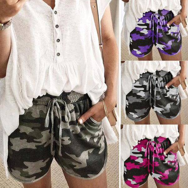 Casual Daily Elastic Waist Camouflage Shorts