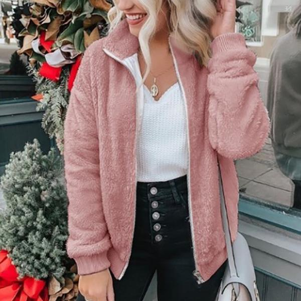 Casual Plus Size Solid Color Coats