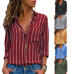 Casual Daily Stripe Lapel Blouse