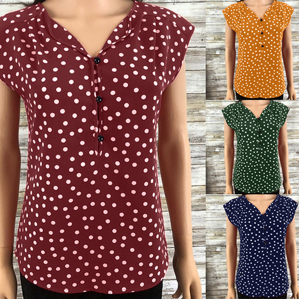 Casual Summer V Neck Polka dot Buttons Blouses