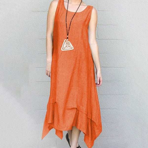 Irregular Sleeveless Solid Color Loose Dress
