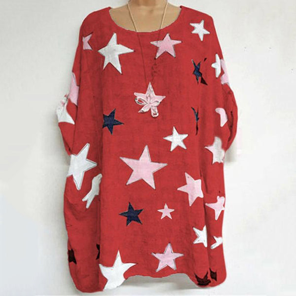 Casual Star Printed Solid Color Blouse