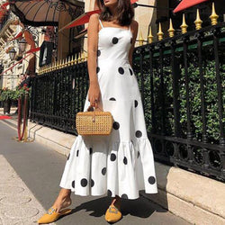 Casual Polka Dot Sleeveless Maxi Dress