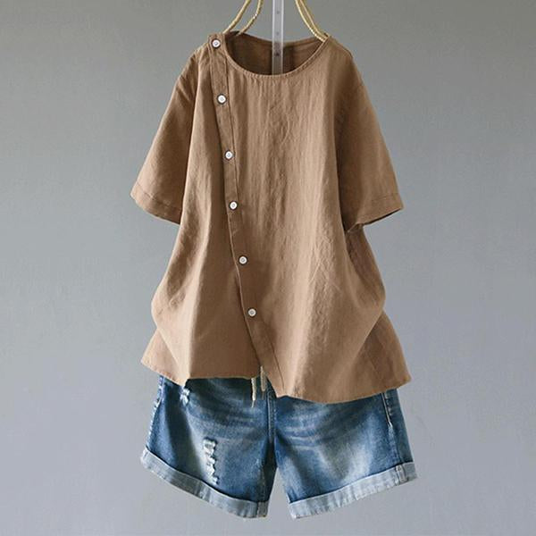 Large Size Women Short Sleeve O-neck Button Irregular Hem Blouse