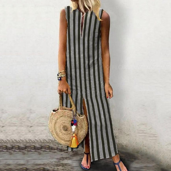 Stripe V-neck Sleeveless Maxi Dresses