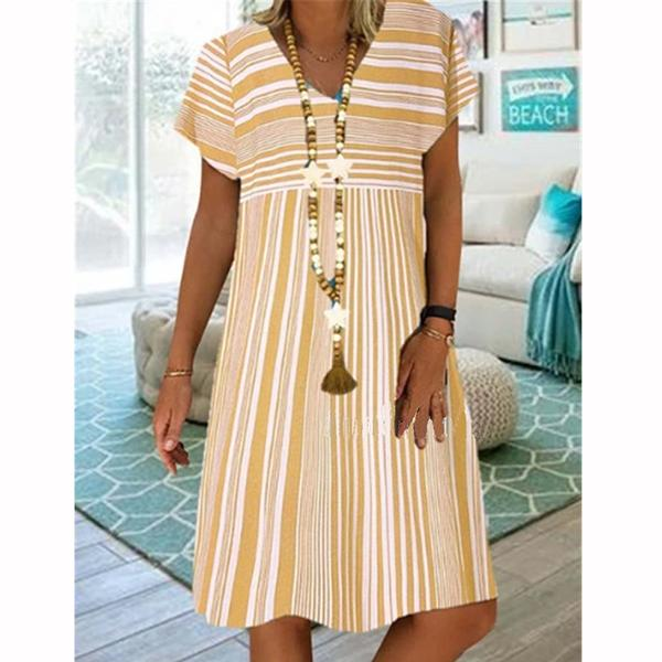 Women Striped Printed Short Sleeve Midi Dresses