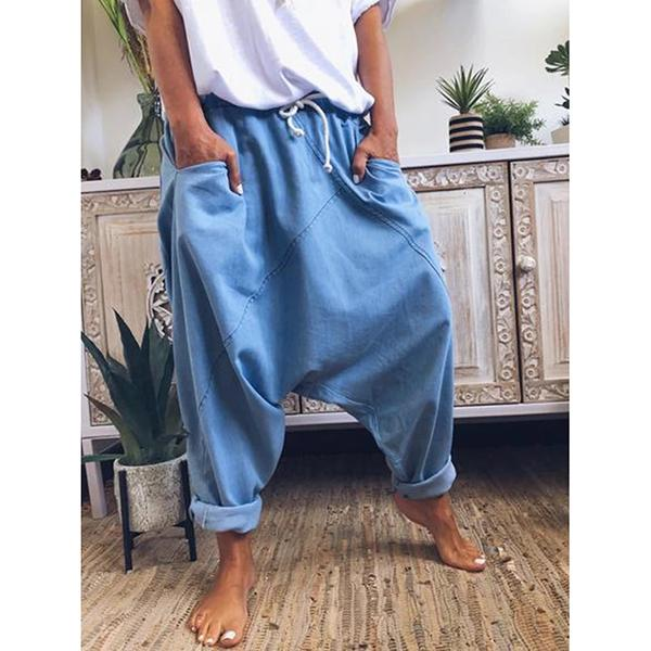 Patchwork Elastic Band Solid Color Pants