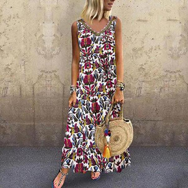 Fashion V-Neck Printed Sleeveless Dresses
