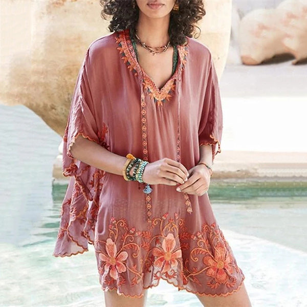Bohemian Floral Daily Vacation Mini Blouses