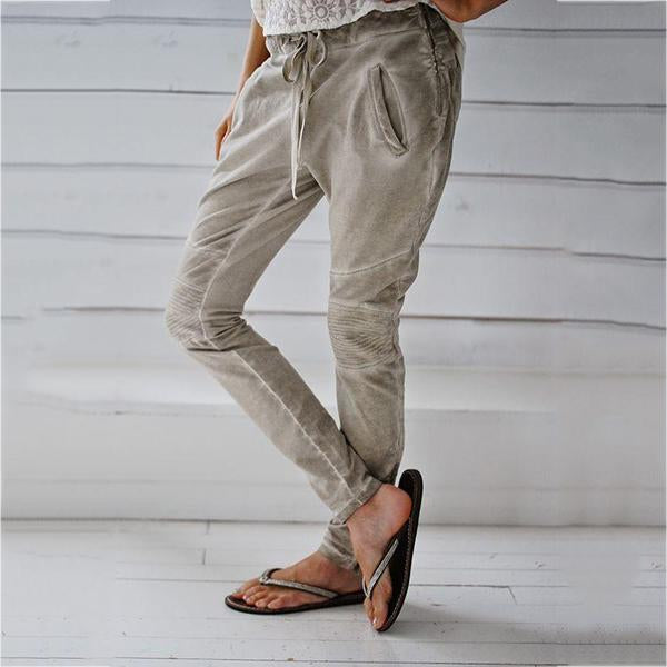 Casual Pockets Patchwork Pants