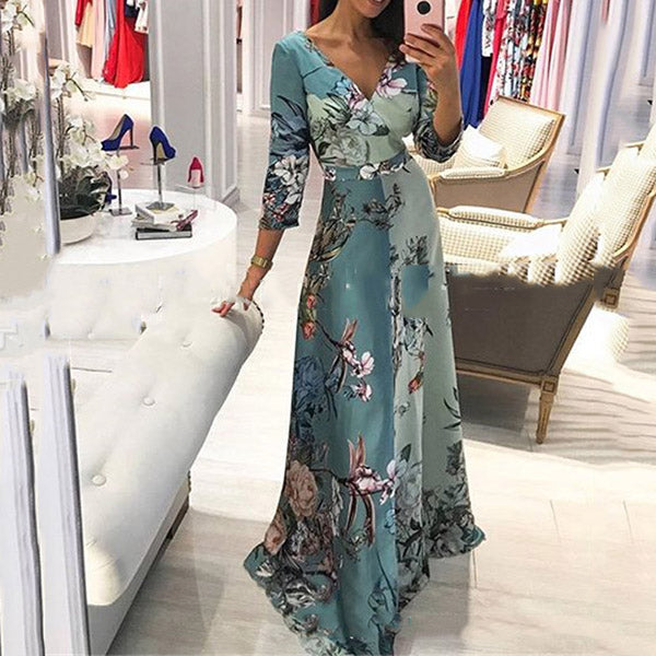 V Neck Flower Printed Maxi Dress