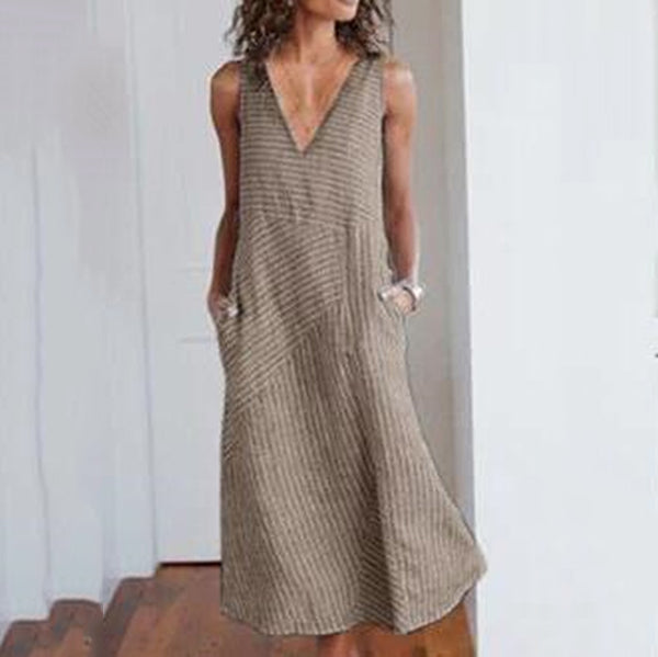 Casual V Neck Stripe Maxi Dress