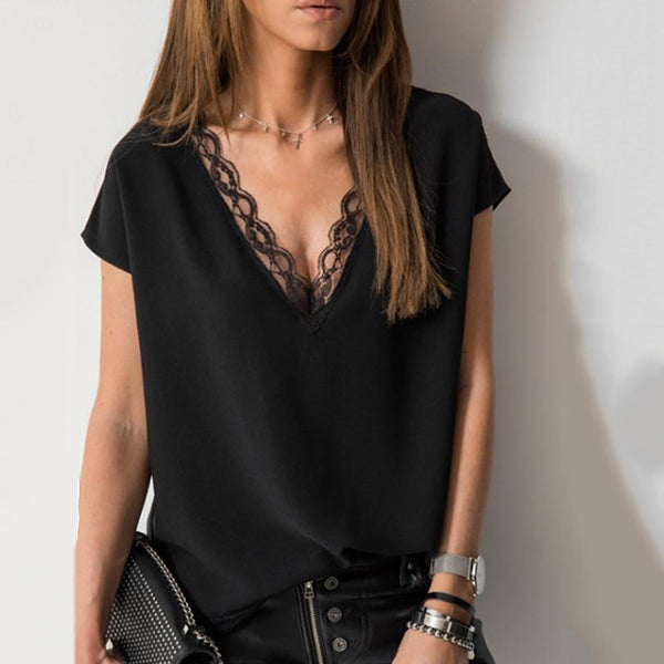 V Neck Lace Stitching Blouse