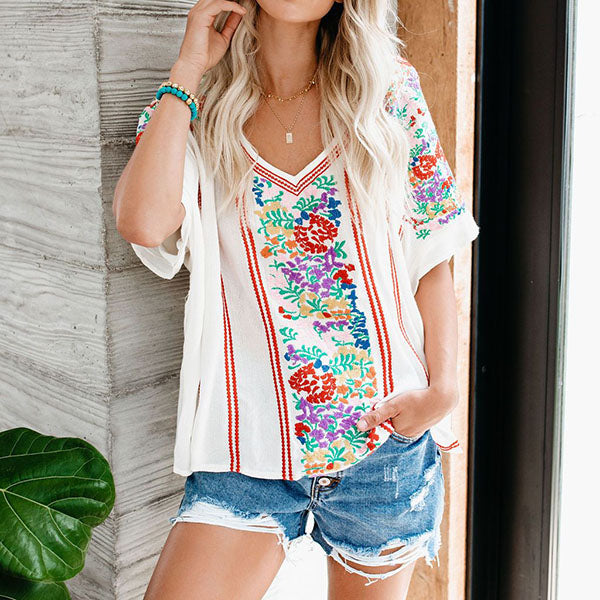 Bohemian Printed V Neck Casual Blouse