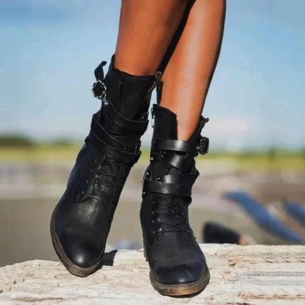 Retro Side Zipper Buckles Knight Boots