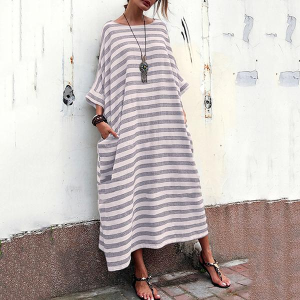 Plus Size Stripe Loose Maxi Dress