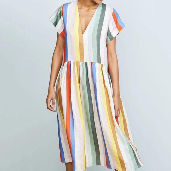 Fashion V-neck Colorful Striped Dress