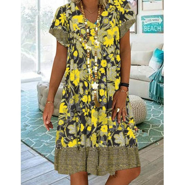Women Summer V-neck Printing Short Sleeve Medium Long Floral Dresses