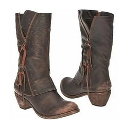 Vintage Zippers Tassel Wide Calf Boots
