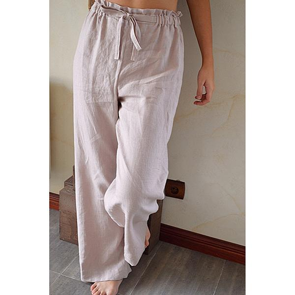 Daily Solid Color Elastic Band Long Pants
