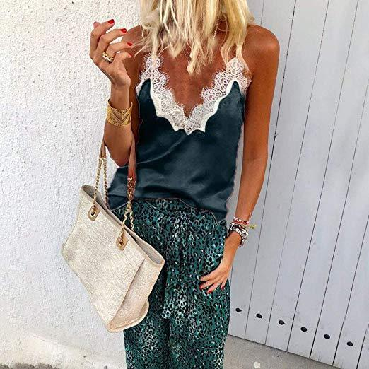 Sexy V-Neck Sleeveless Blouse Cami Lace Patchwork Vest Shirts