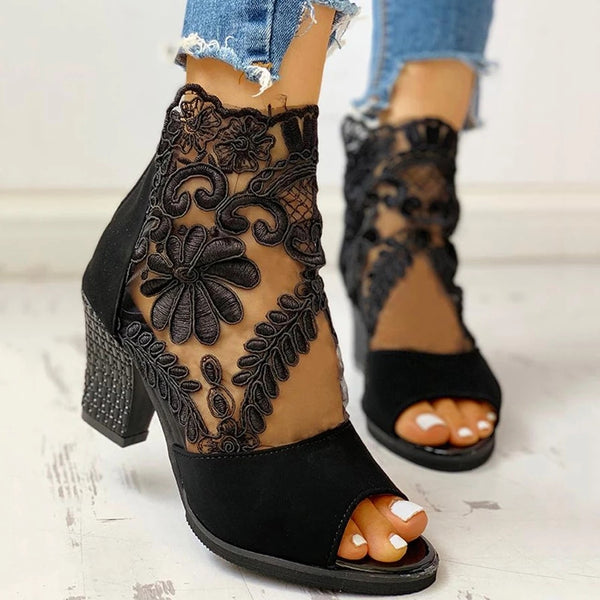 Elegant Lace Mesh Insert Chunky Heel Boots