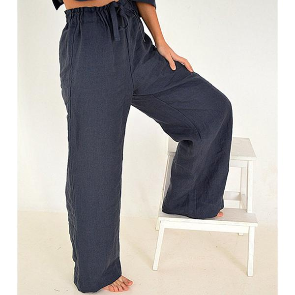 Casual Solid Color Elastic Band Long Pants