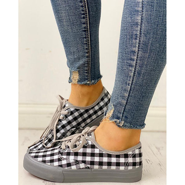 Plaid Insert Lace-Up Platform Sneakers