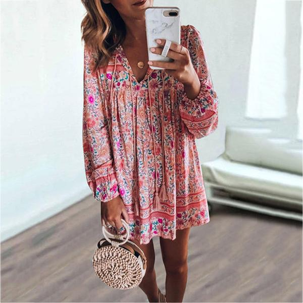 Bohemian Printed V-neck Mini Dress