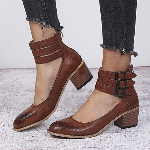 Vintage Zipper Low Heel Boots