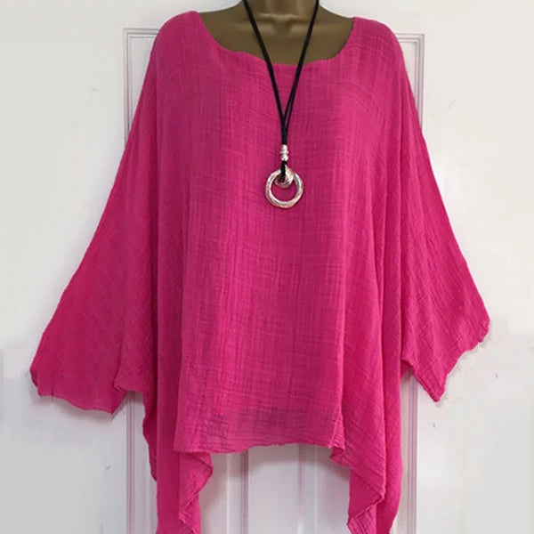 Bat Sleeve Solid Color Blouse