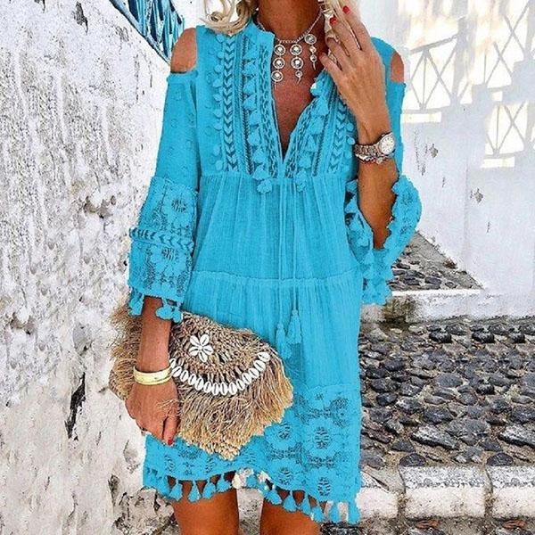 Women Tassel Elegant 3/4 Sleeve Casual Dresses
