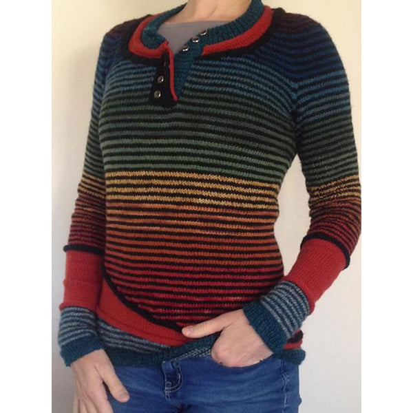 Round Neck Gradient Casual Sweater