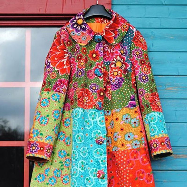 Vintage Floral Buttoned Long Sleeve Jacket