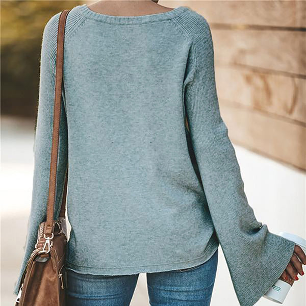 Women's V Neck Flare Sleeve Fall Blouse