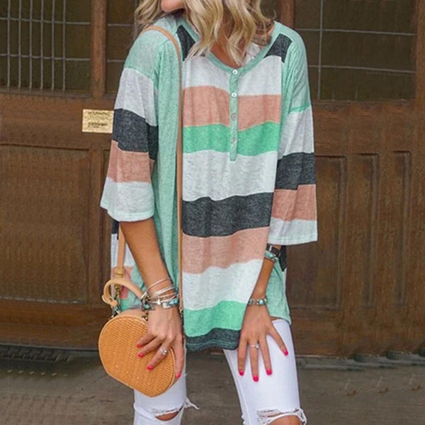 V Neck Stripe 1/2 Sleeve Blouse