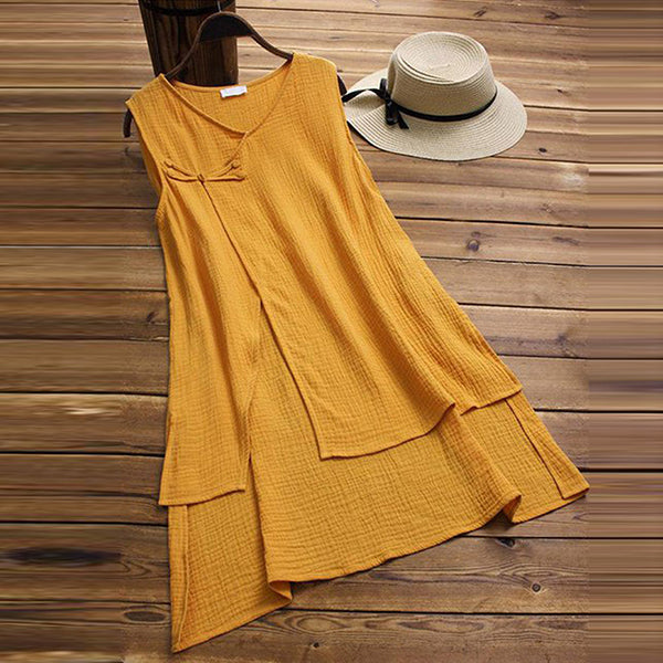 Elegant Lace-Up Irregular Sleeveless Blouse